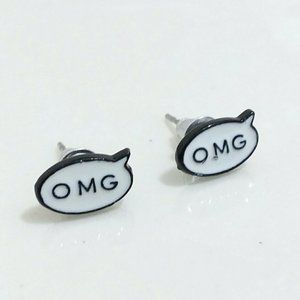 OMG Quote Black & White Earring Studs Light Weight